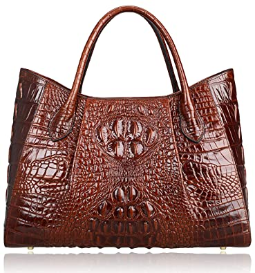 3d7dfefa732e PIJUSHI Women Handbags Crocodile Top Handle Bag Designer Satchel Bags For  Women (22198 Coffee)