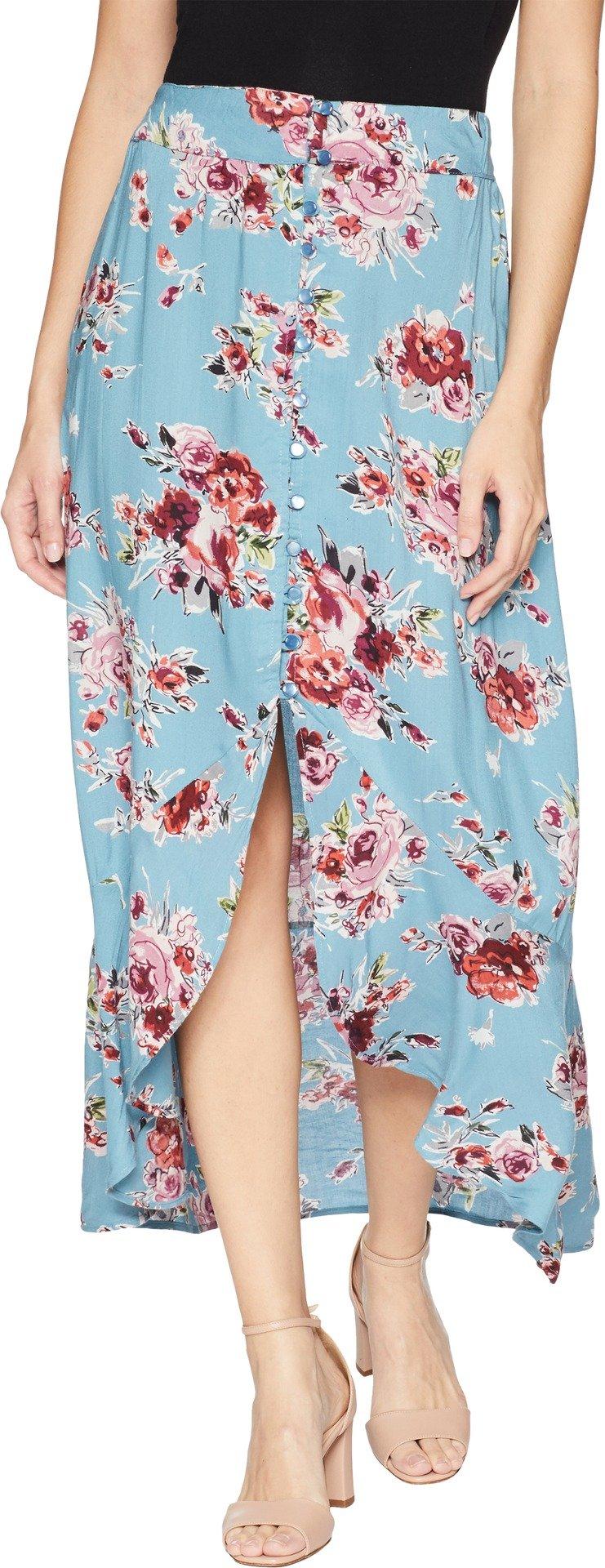 Angie Women's Button Front Ruffle Hem Skirt, Blue, Large