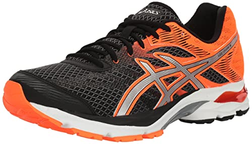053c0398588e6 ASICS Men's Gel-Flux 4 Black Silver Hot Orange Ankle-High Fabric Running