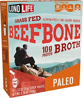 product image for Beef Bone Broth Powder by LonoLife, Grass Fed, 10g Collagen Protein, Keto & Paleo Friendly, Low-Carb, Gluten Free, Portable Stick Packs (.53oz ea) - 10 Count