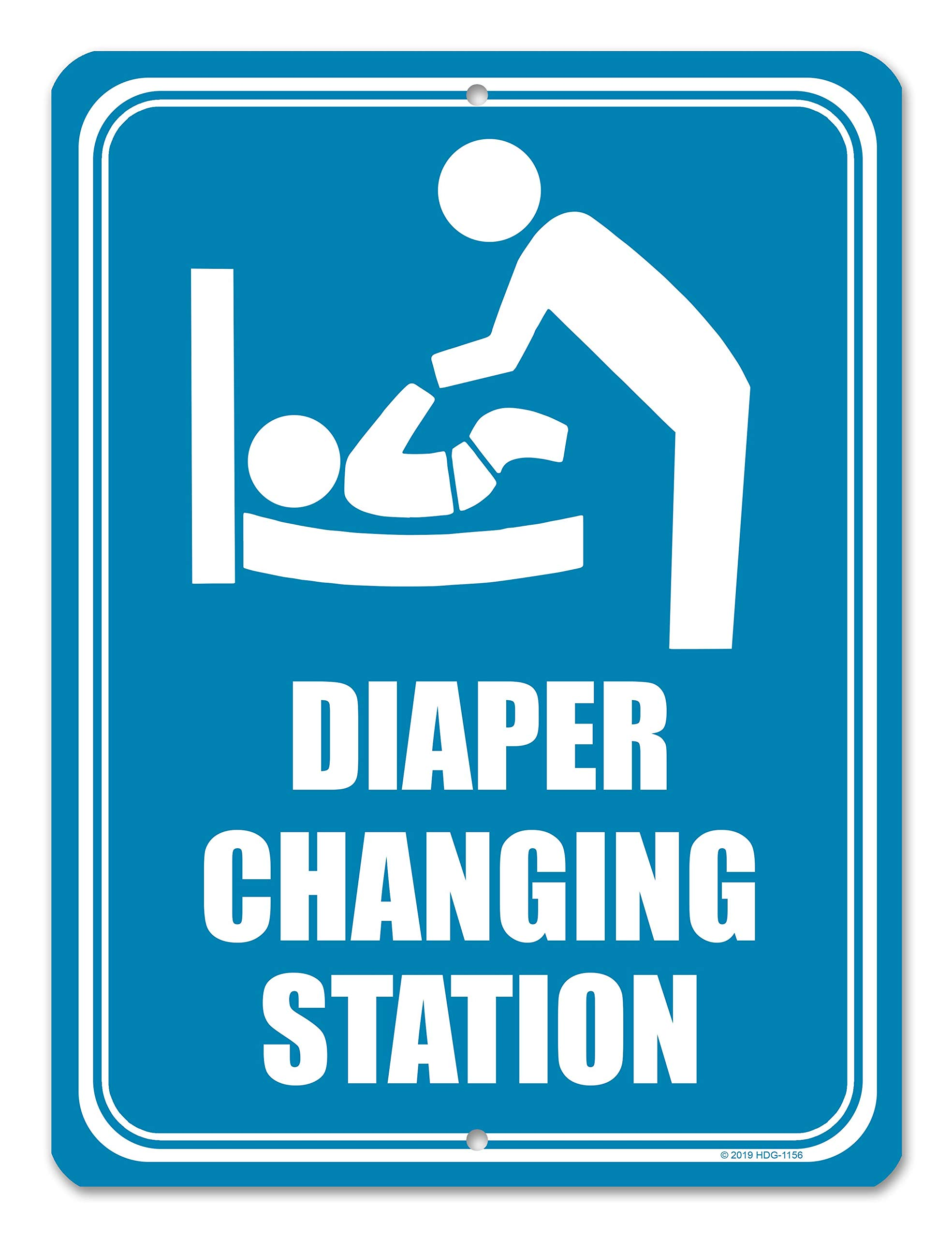 Honey Dew Gifts Restroom Sign, Diaper Changing Station 9 inch by 12 inch Metal Aluminum Baby Changing Station Sign for Business, Made in USA by Honey Dew Gifts