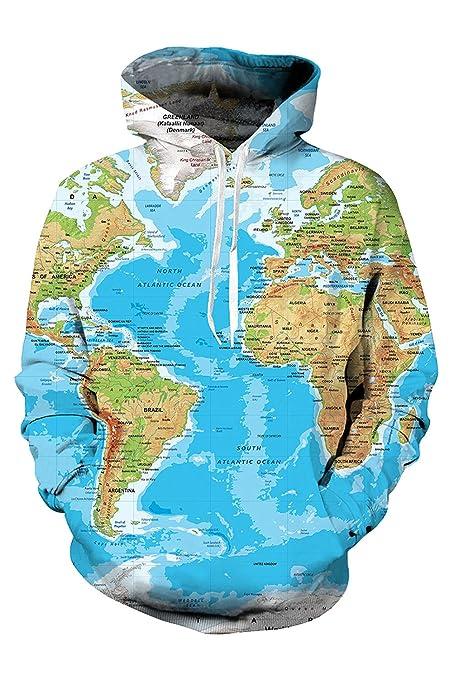 Amazon.com: ValorSoul Unisex Realistic 3D Printed Big Pocket Pullover World Map Hoodie Sweatshirt: Clothing