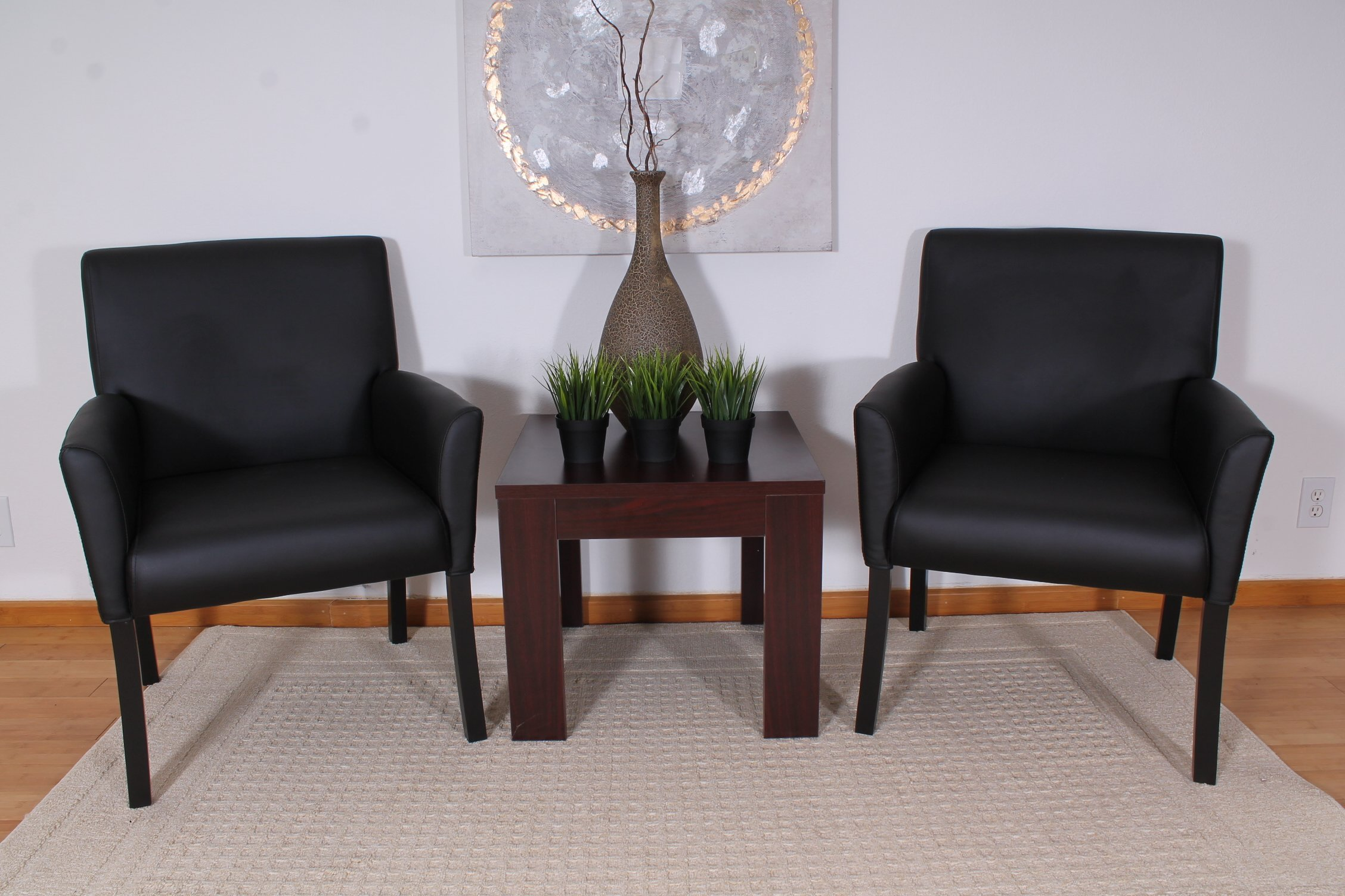 Boss Office Products B639-BK Executive Box Arm Chair with Mahogany Finish in Black by Boss Office Products (Image #2)