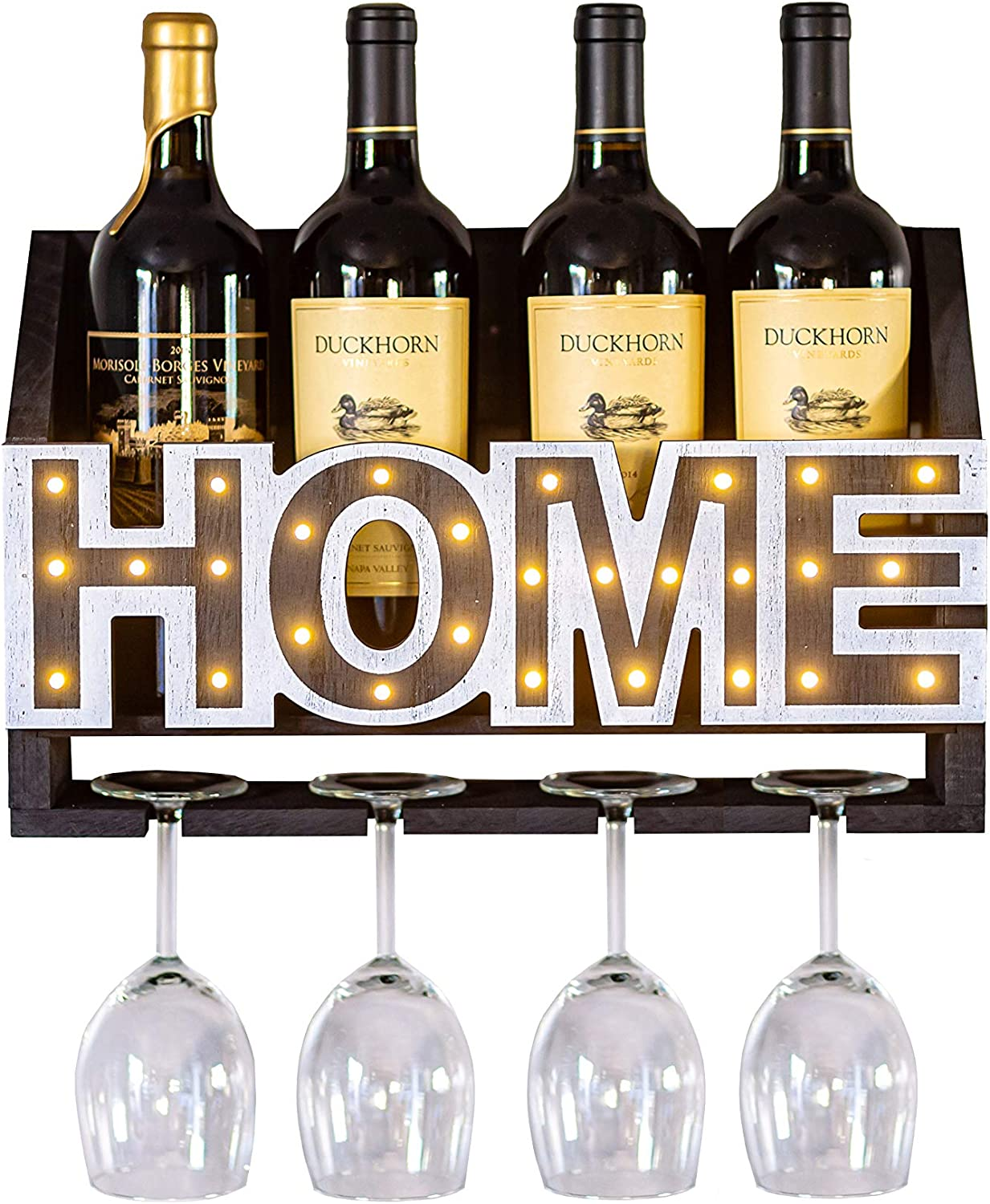 ienjoyware Wooden Wall Mounted Home LED Wine Rack and Glass Holder – Wall Décor for Home Interior – Wine Racks Display with LED – 4-Bottle and 4-Glass Holder