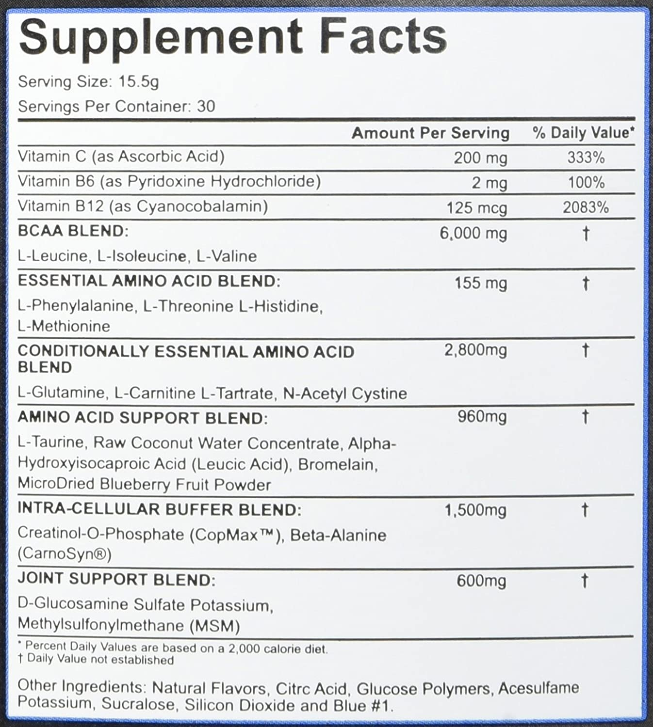 Rich Piana 5 Nutrition All Day You May BCAA Joint Recovery Drink Blue Raspberry 17.2oz 465g 30 Servings