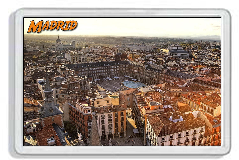 AWS Magnete in pvc rigido Madrid Spagna Spain City souvenir Città gadget calamita fridge MAGNET magnete da frigo in plastica dura con immagine fotografica città España madrid (7, 8_x_5, 2_cm)