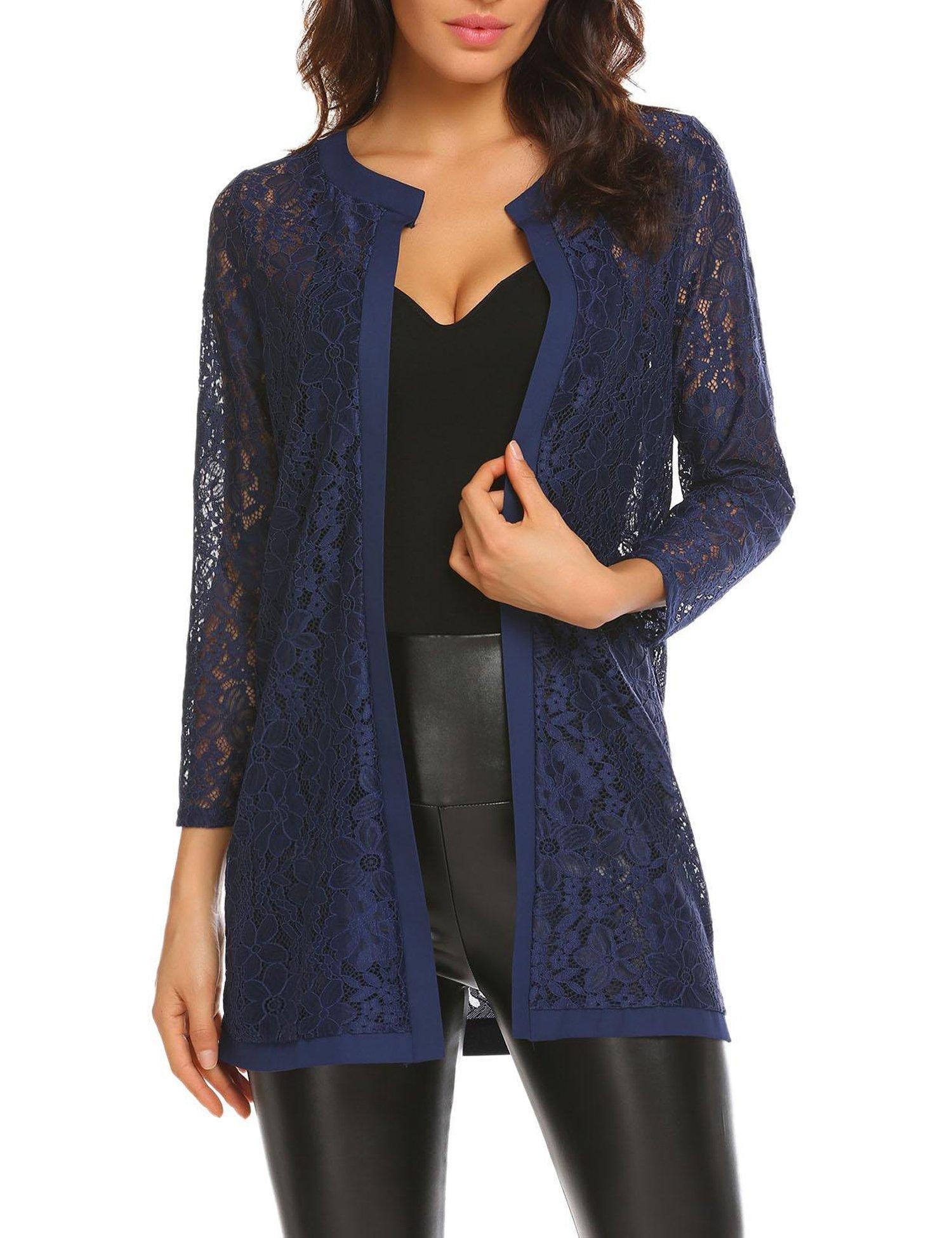 Bulges Women Floral Lace Cardigan Shrug 3 4 Sleeve Front Open Bolero Blouse Crop Top Blue XX-Large