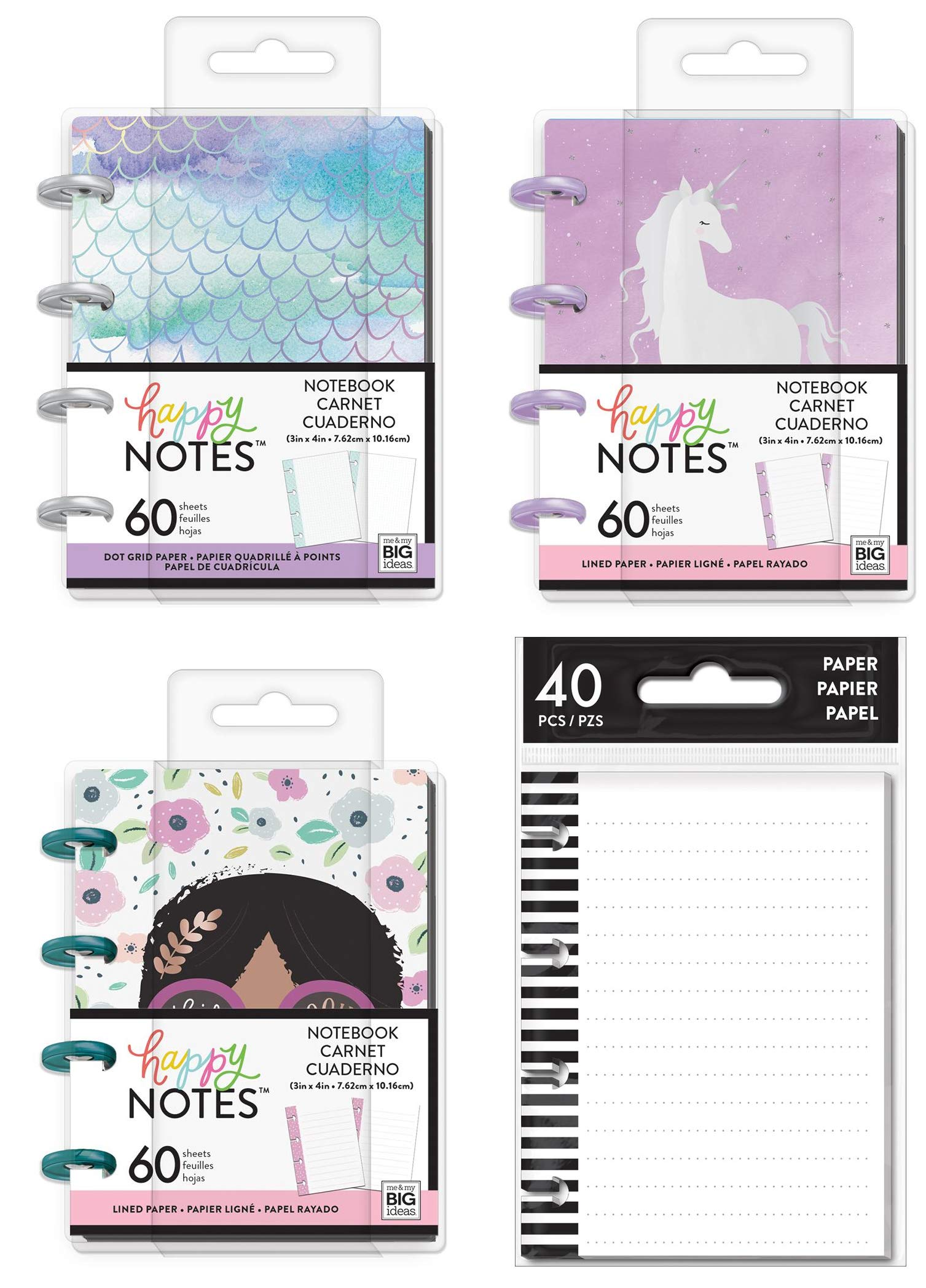 Micro Happy Notes 3 x 4 Inch Memo Book Set - Mermaid, Wonder Seeker, Squad Goals and Tiny Lined Fill Paper - 4 MAMBI Keepsake Size Items