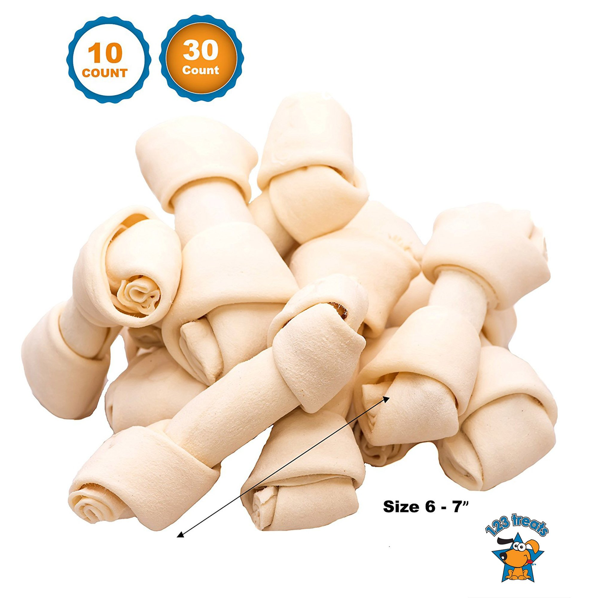 123 Treats - Dog Rawhide Chews Bones for Medium to Large Dogs 6-7'' (30 Count) 100% Natural Premium Bulk Treats by 123 Treats