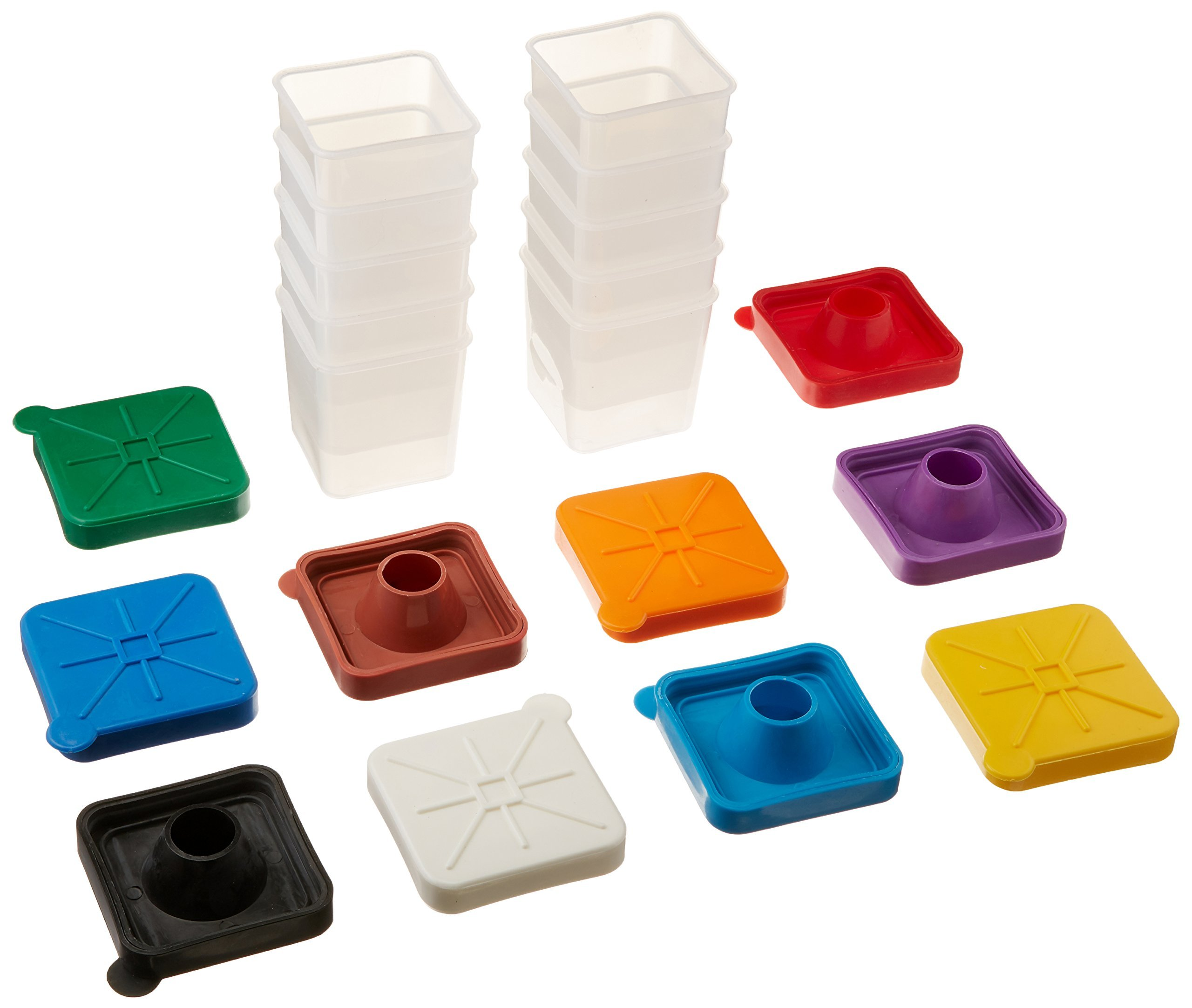 School Smart Plastic Square Colored Lid Paint Pots - 3 1/2 inches - Pack of 10 - Assorted Colors