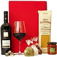 Geschenkset Italien | Italienischer Geschenkkorb gefüllt mit Wein und Delikatessen | Geschenk Set mit italienischen Spezialitäten, Rotwein, Feinkost
