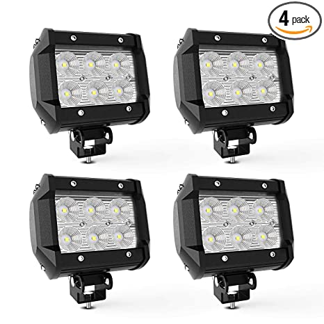 TURBO SII 4pcs 4 Inch Pods Cube flood Beam 18W led Work Light Driving Fog  Lights For Dodge Ford Jeep Polaris RZR Ranger ATV UTV Can Am Maverick Boat