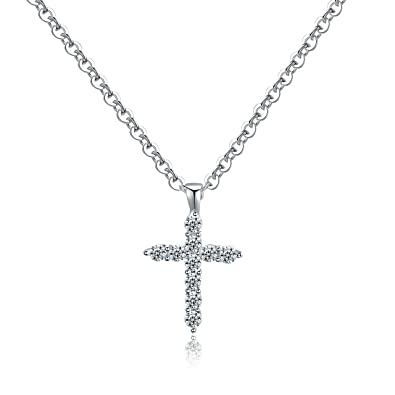 Amazon 18k white gold cross pendant necklace zircon diamond 18k white gold cross pendant necklace zircon diamond studs forever by conniey aloadofball Gallery