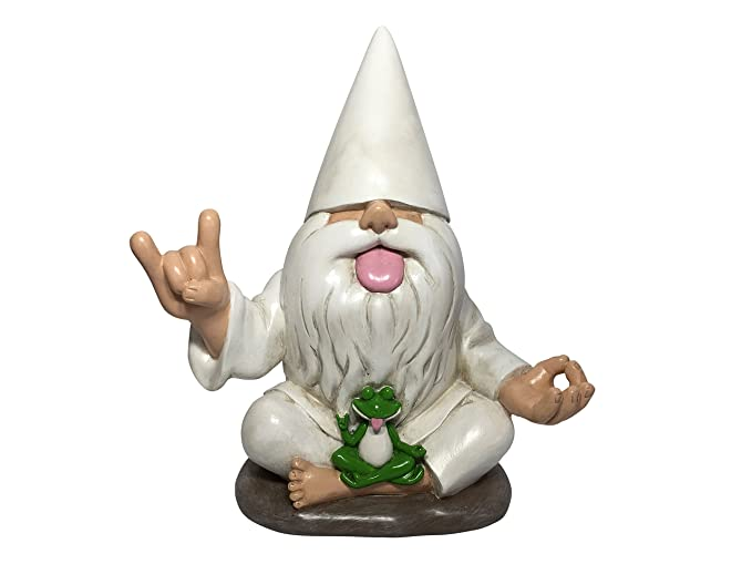GlitZGlam Rocker Gnome George with Zen Frog - This Garden Gnome Combines Peace, Tranquility and Rock N Roll for Your Fairy Garden