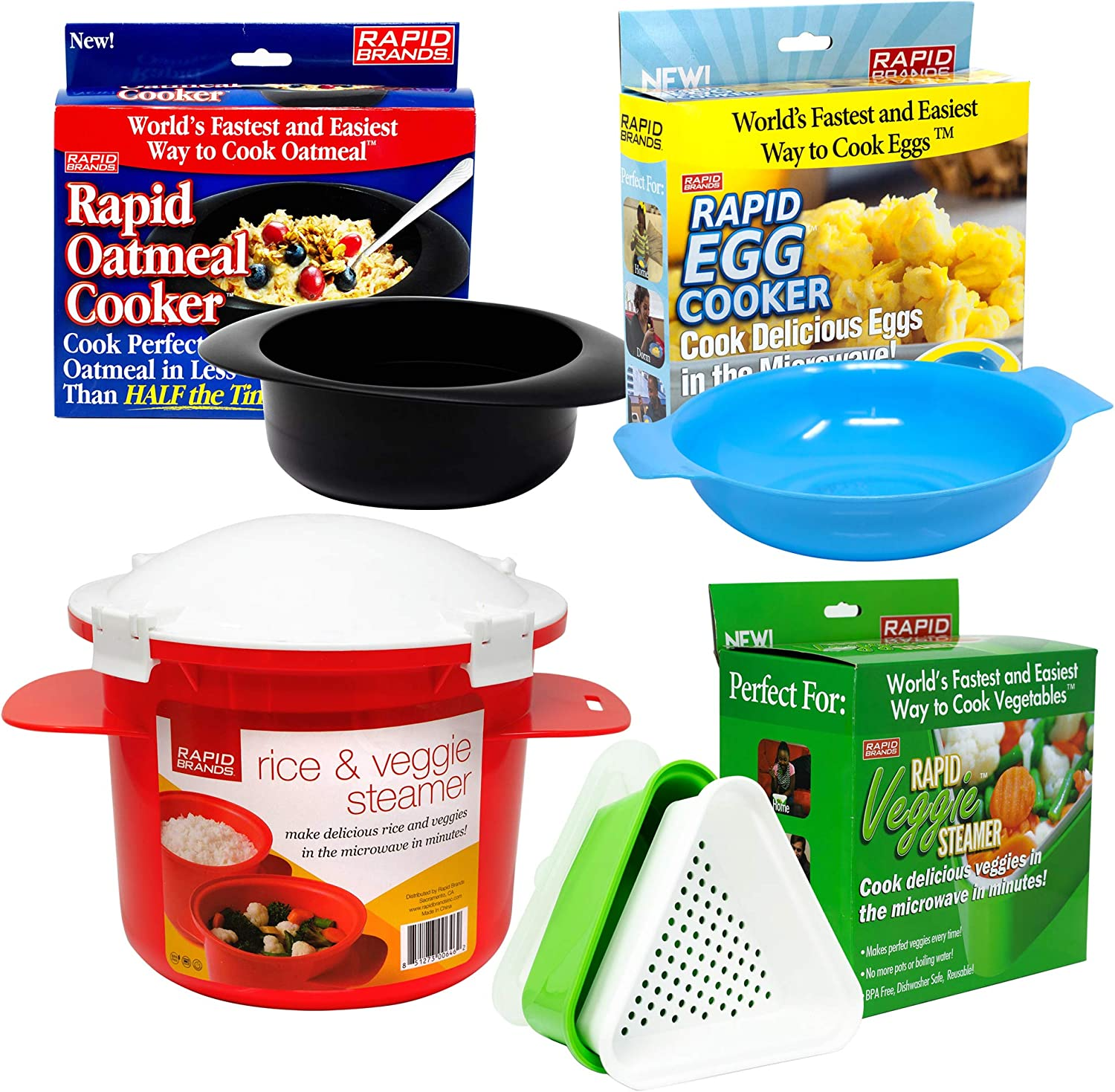 Jen Widerstrom 4-Piece Rapid Microwave Cookware Set for Healthy & Quick Cooking | Perfect for Dorm, Small Kitchen, or Office | Dishwasher-Safe, Microwaveable, BPA-Free