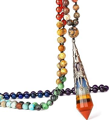 Natural Gemstone Crystal Healing Chakra Reiki Stone Pendant Necklace Bead