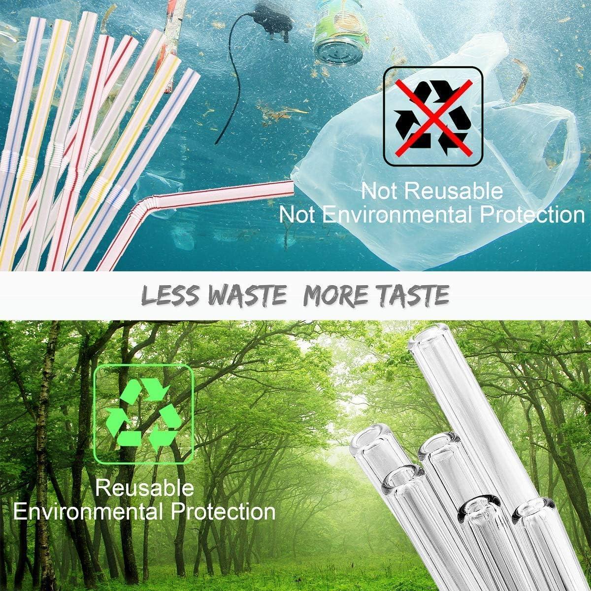 Set de 8 con 2 Cepillos de Limpieza Pajitas de Reutilizables Cristal Reusable Glass Straws para Fiesta Cumplea/ños Boda Festival