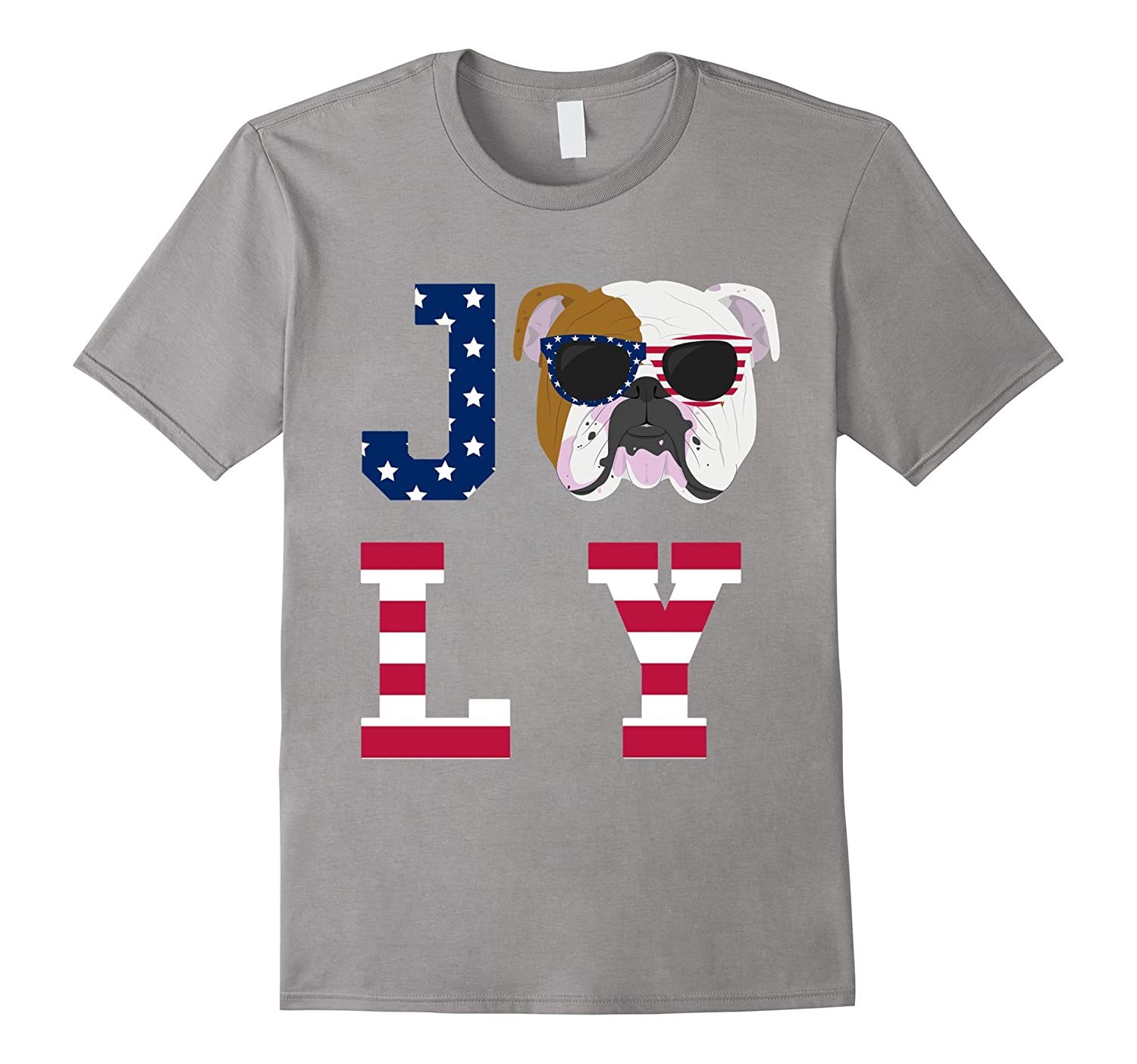 4th of July - Bulldog American Flag Dog T-Shirt-TH