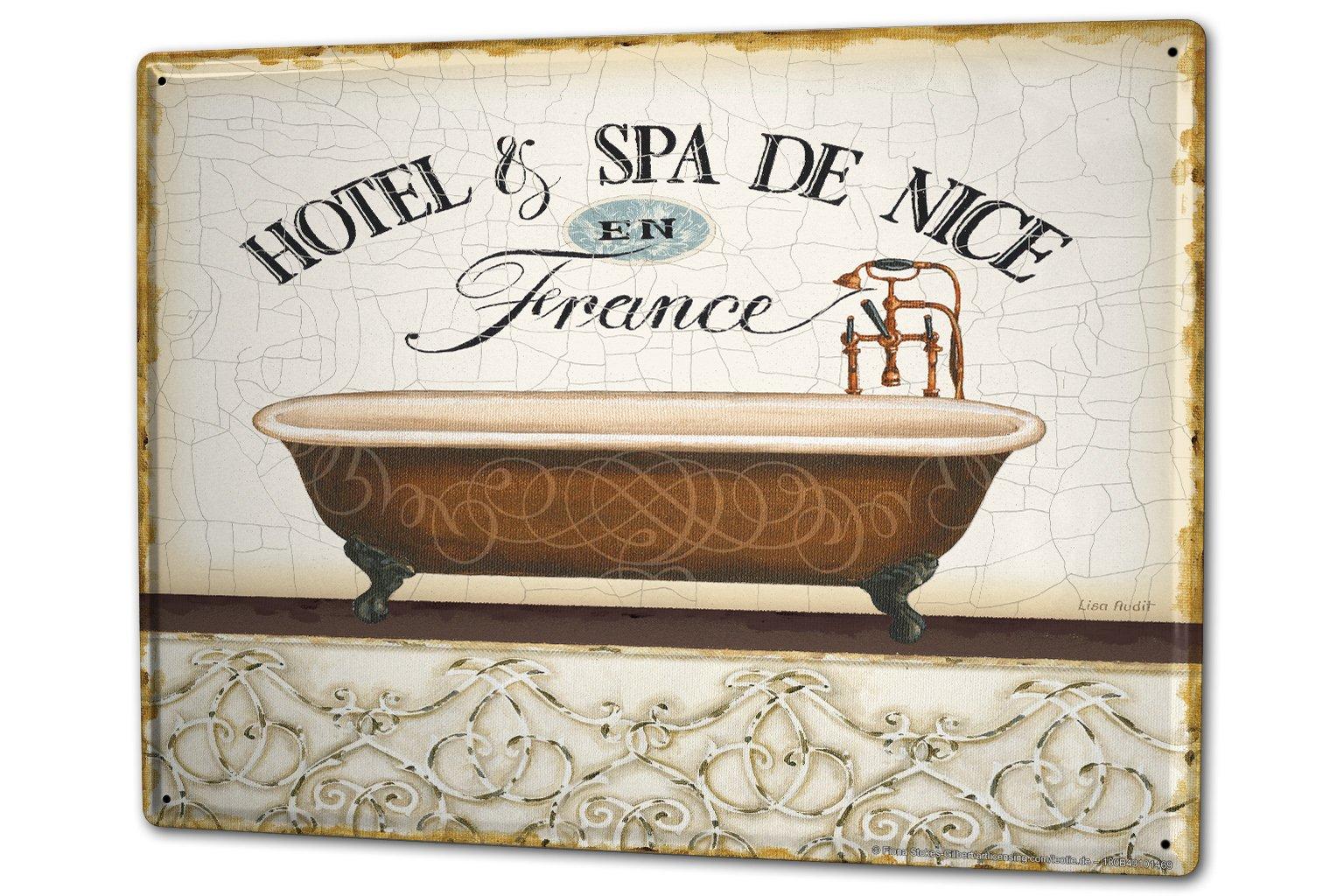 Tin Sign XXL Retro Bath Spa Nice