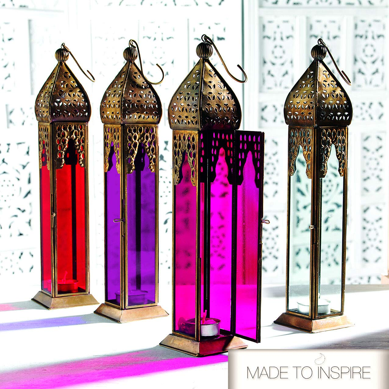 Desk Candle Tea Light Holders for Wedding Decorations Red Premium Authentic Moroccan Lanterns Lampshade Style Large Classic Vintage Turkish Indoor Garden Plain Glass Lantern Hanging