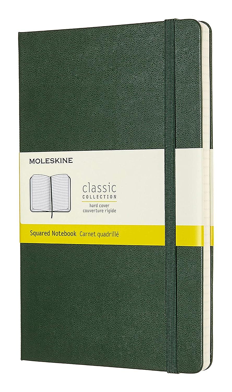Moleskine - Cuaderno Clásico con Páginas Cuadriculada, Tapa Dura y Goma Elástica, Color Verde Mirto, Tamaño Grande 13 x 21 cm, 240 Páginas