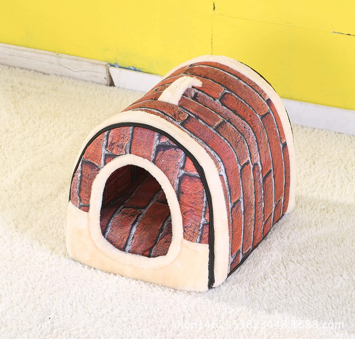 Red stone Medium Red stone Medium SuperMo Unique 2-in-1 Pet Bed Pet House Cat Dog Cozy Warm Bed House (Medium, Red Stone)