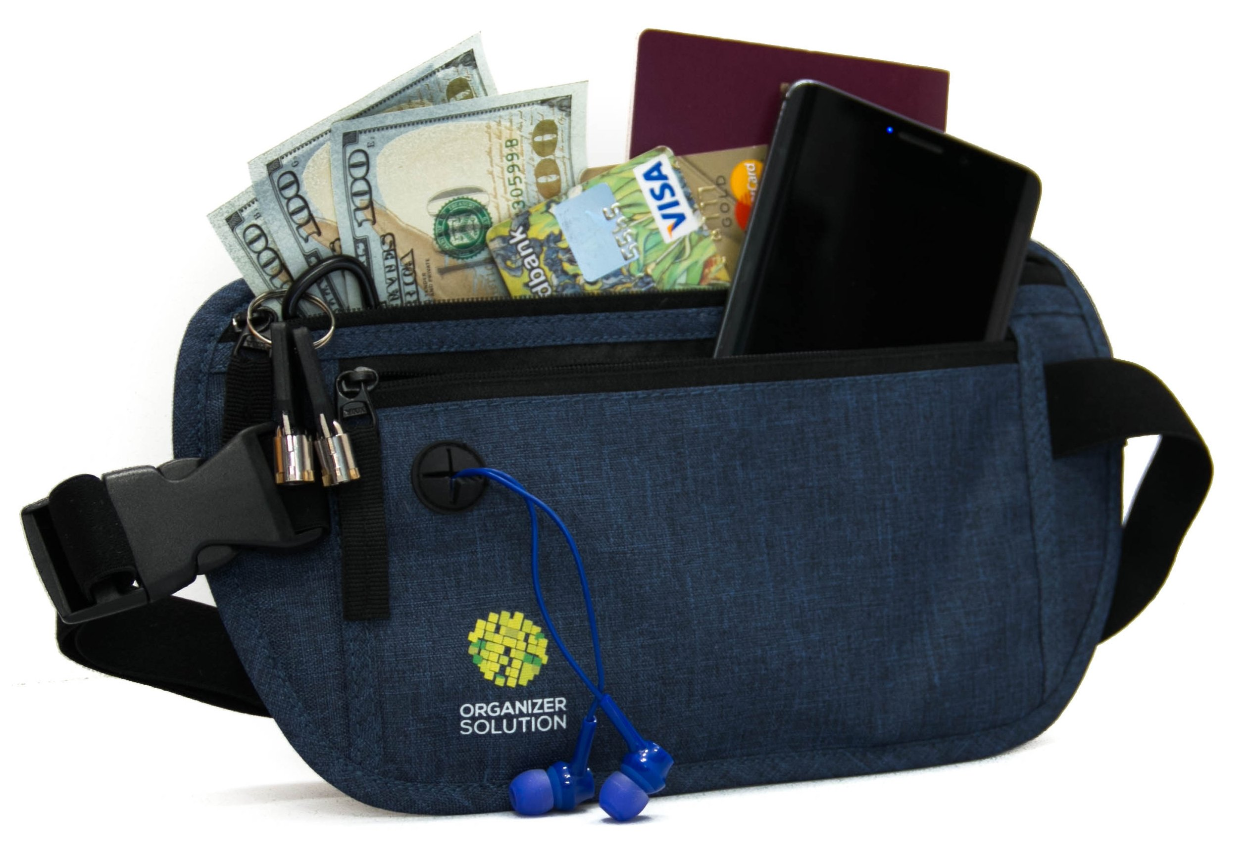 Money belt for travel and daily use with rfid protection, travel waist wallet (navy blue)