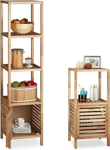 2 piezas baño Estantería Juego de madera de nogal, estantes ...