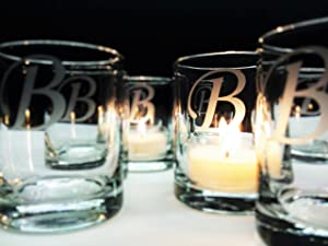 Personalized Monogram Candle Favors 100 pcs Engraved Glass Table Decor Gift Memento