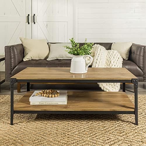 Harvey Rustic Angle Iron Coffee Table in Barnwood
