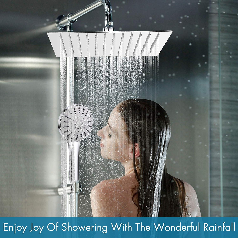 Soffione doccia sinzau 8 pollici quadrato doccia a pioggia in acciaio inox 304 design ultrasottile migliore rinforzo di pressione