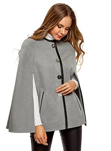 oodji Collection Women's Buttoned Crew Neck Poncho