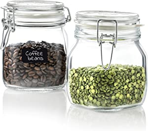 Bormioli Rocco Glass Fido Jars - 25¼ Ounce (.75 L) hermetic Sealed hinged Airtight lid for Fermenting, Pantry, Kitchen Storage Jars, Bulk Food Storage Containers, With Paksh Chalkboard Labels (2 Pack)