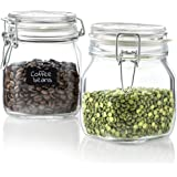 Bormioli Rocco Glass Fido Jars - 25¼ Ounce (.75 L) hermetic Sealed hinged Airtight lid for Fermenting, Pantry, Kitchen Storag