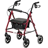 Days Lightweight Folding Four Wheel Rollator Walker with Padded Seat, Lockable Brakes, Ergonomic Handles, and Carry Bag, Limited Mobility Aid, Ruby Red, Small, (Eligible for VAT relief in the UK)