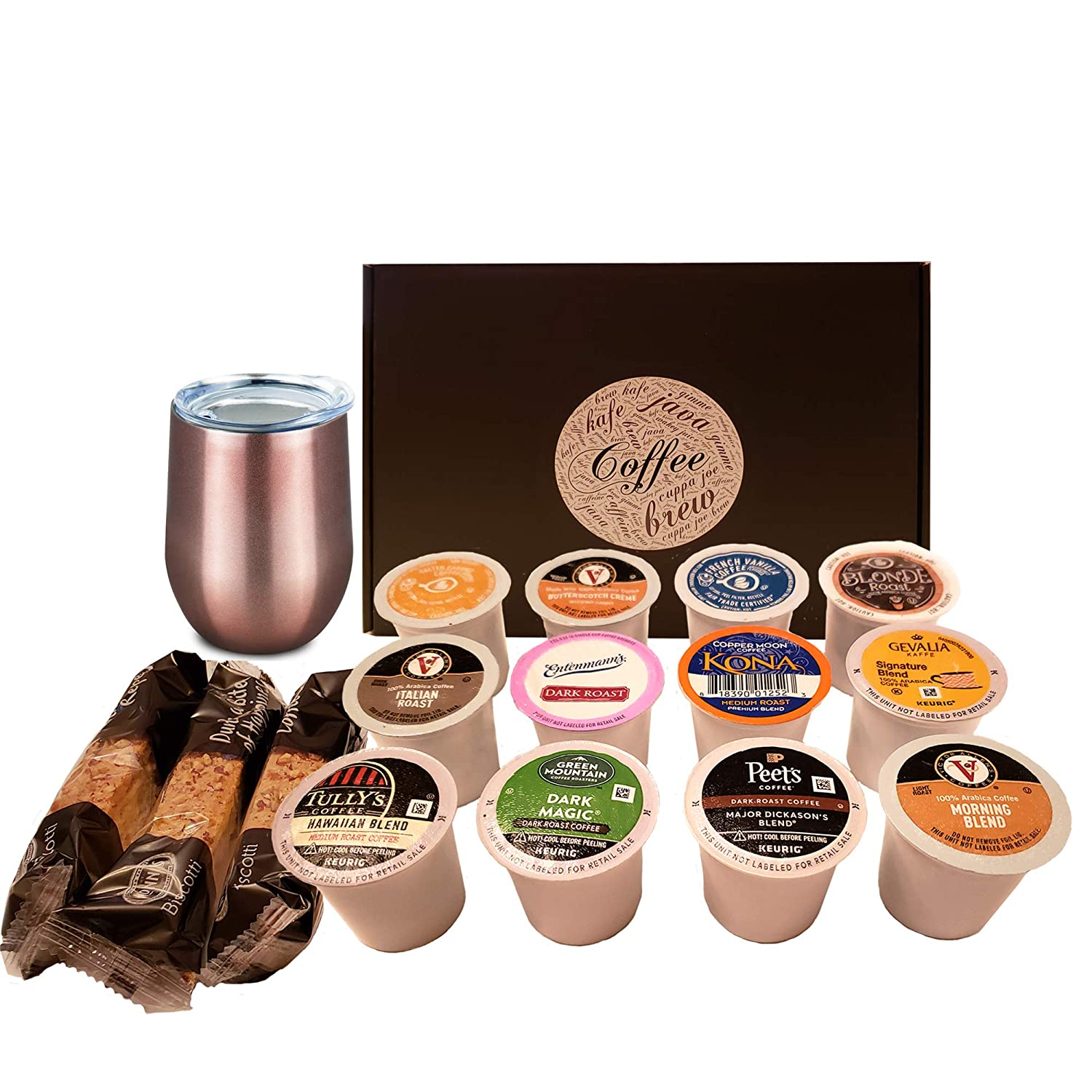 Coffee Sampler and Travel Mug Gift Set for Coffee Lovers (Rose Gold)