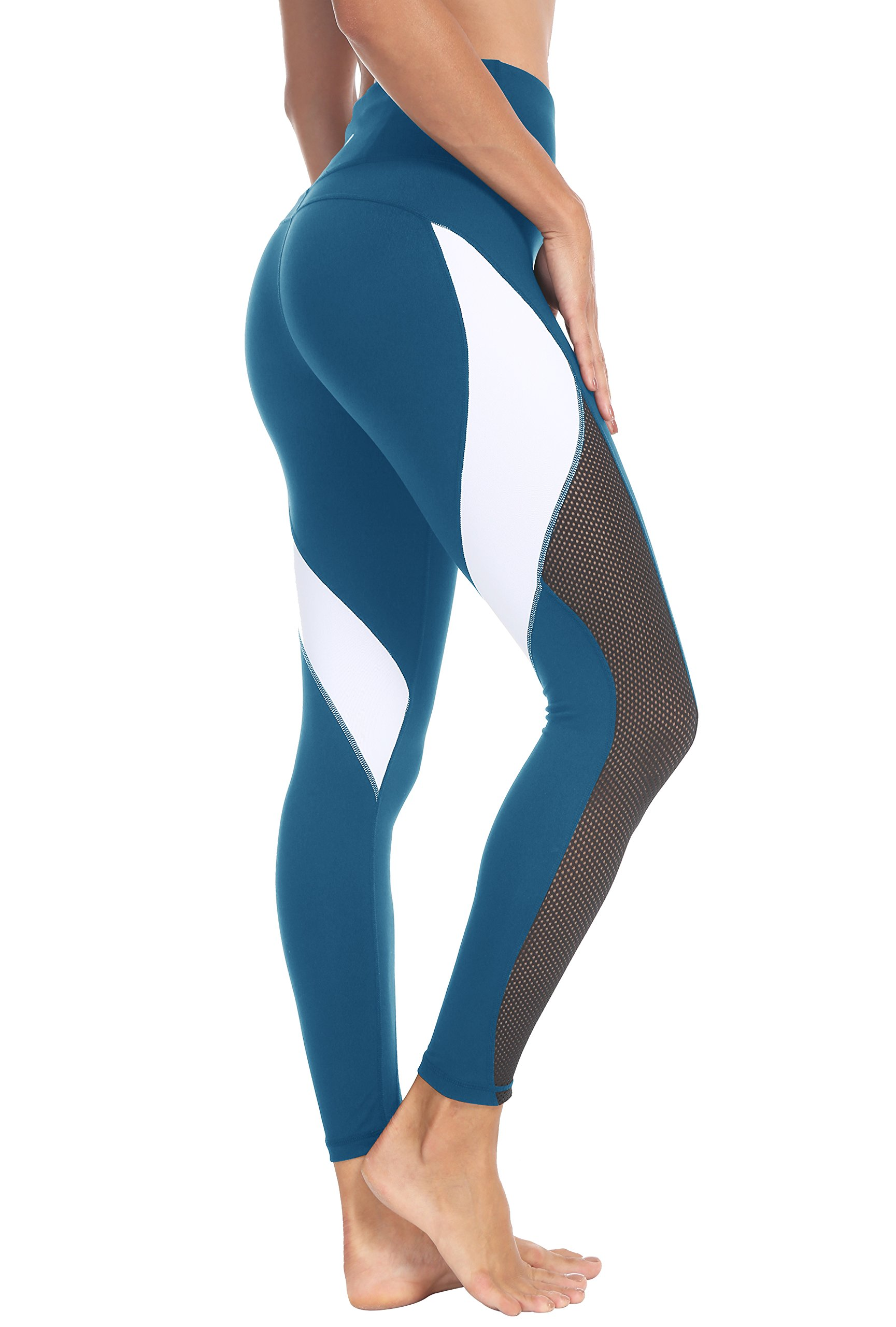 Queenie Ke Women Yoga Pants Color Blocking Mesh Workout Running Leggings Tights Size XXL Color Dark Blue