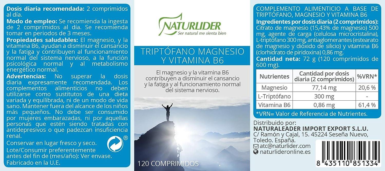 Naturlider Triptófano con Magnesio y Vitamina B6-120 Cápsulas: Amazon.es: Salud y cuidado personal