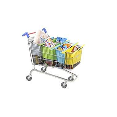 Trolley Bags - Reusable Eco Friendly Shopping Bags to Easily and Safely Bag your Groceries From Your Cart. Sized for Standard American Grocery Carts. Shows the World You Care About The Planet.