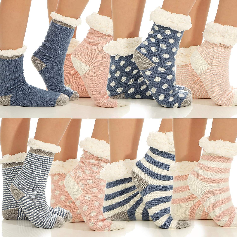 Cleostyle 346-1 paio di caldi calzini da casa con suola in ABS e calda pelliccia di peluche 2x Blau//Streifen Taglia unica