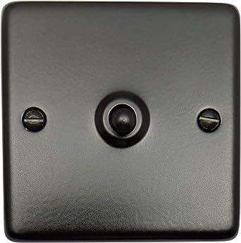 G H Cfb281 Standard Plate Matt Black 1 Gang 1 Or 2 Way Toggle Light Switch Amazon Co Uk Lighting