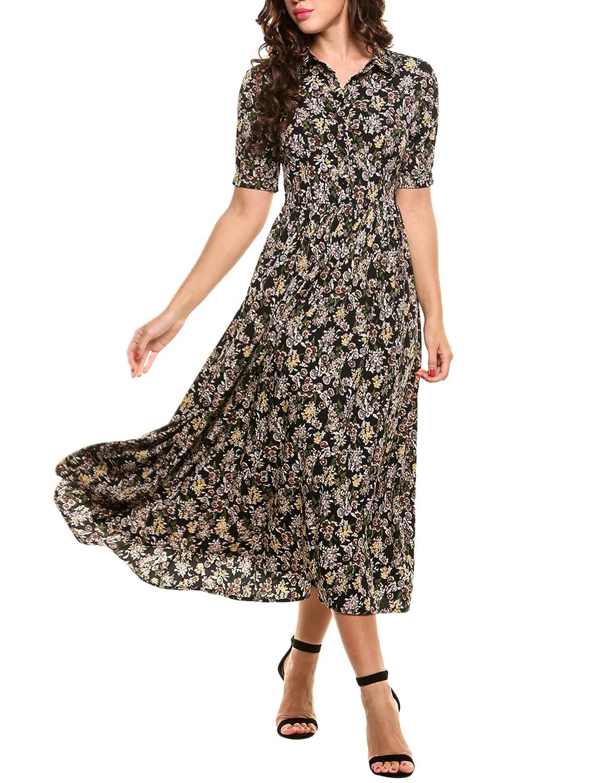 1930s Style Fashion Dresses ACEVOG Womens Vintage Style Short Sleeve Floral Print Long Maxi Dress $41.39 AT vintagedancer.com