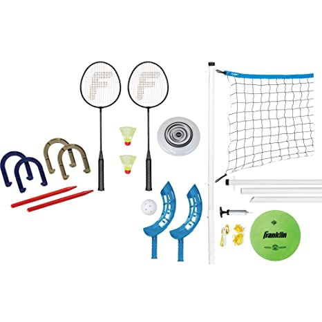 Franklin Sports Combo Set Badminton Volleyball Flip Toss Horseshoes Flying Disc