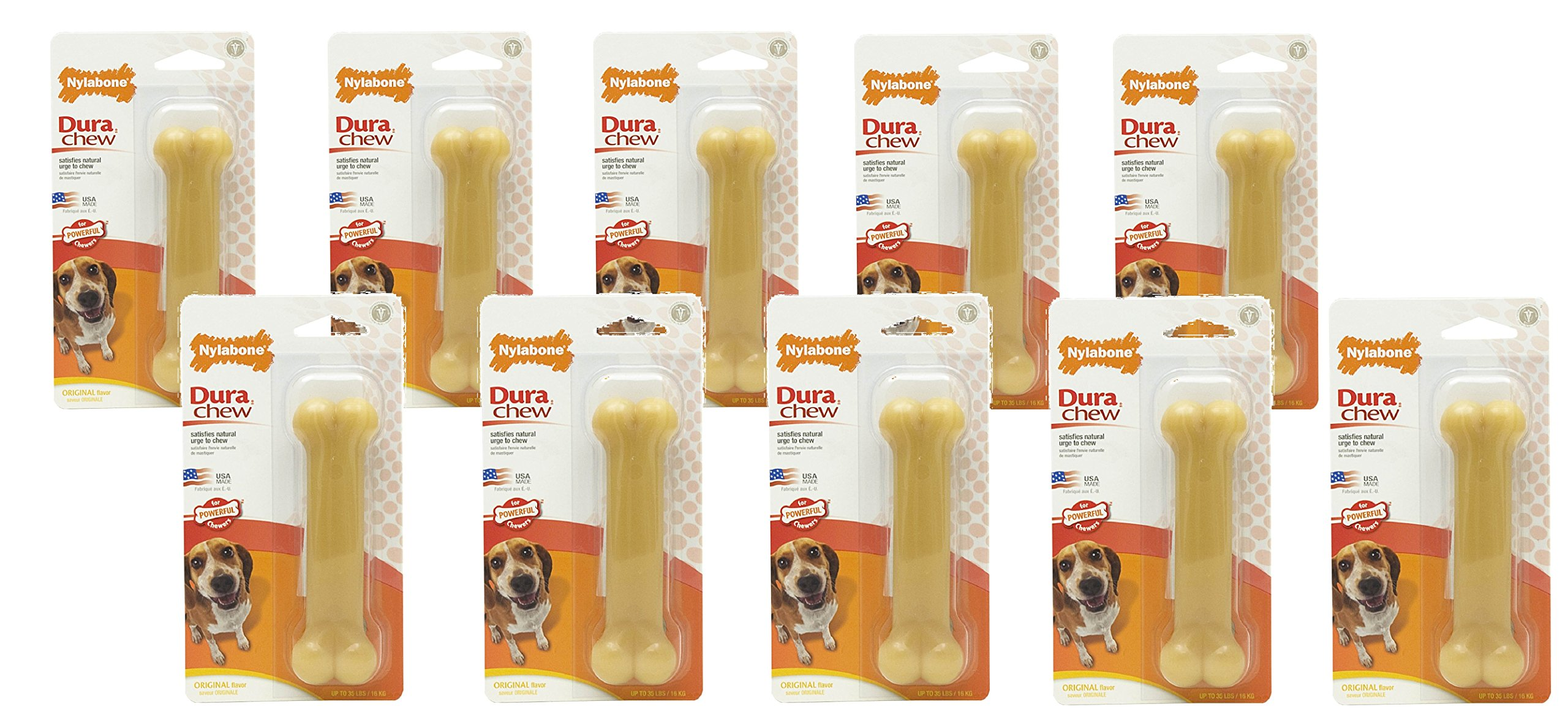 (10 Pack) Nylabone Dura Chew Original Flavored Bone Dog Chew Toy- Wolf/Medium
