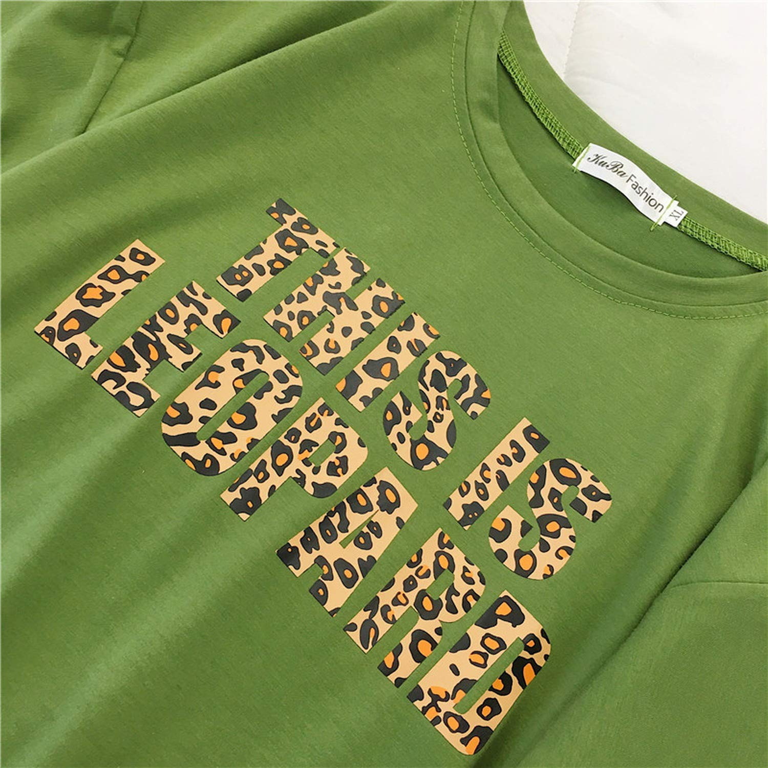 Best-u-store Leopard T Shirt Women Loose O-Neck Short Sleeve Letters Printed Tops Harajuku Chic Cotton Tshirts