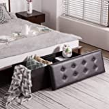 YOUDENOVA 43 Inches Folding Storage Ottoman Bench, Bed End Bench with 120L Large Storage Space, Hallway Footrest Window Padde