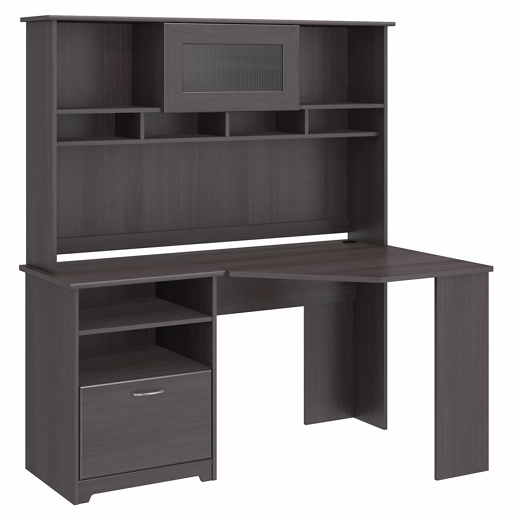 Bush Furniture Cabot Corner Desk with Hutch in Heather Gray by Bush Furniture