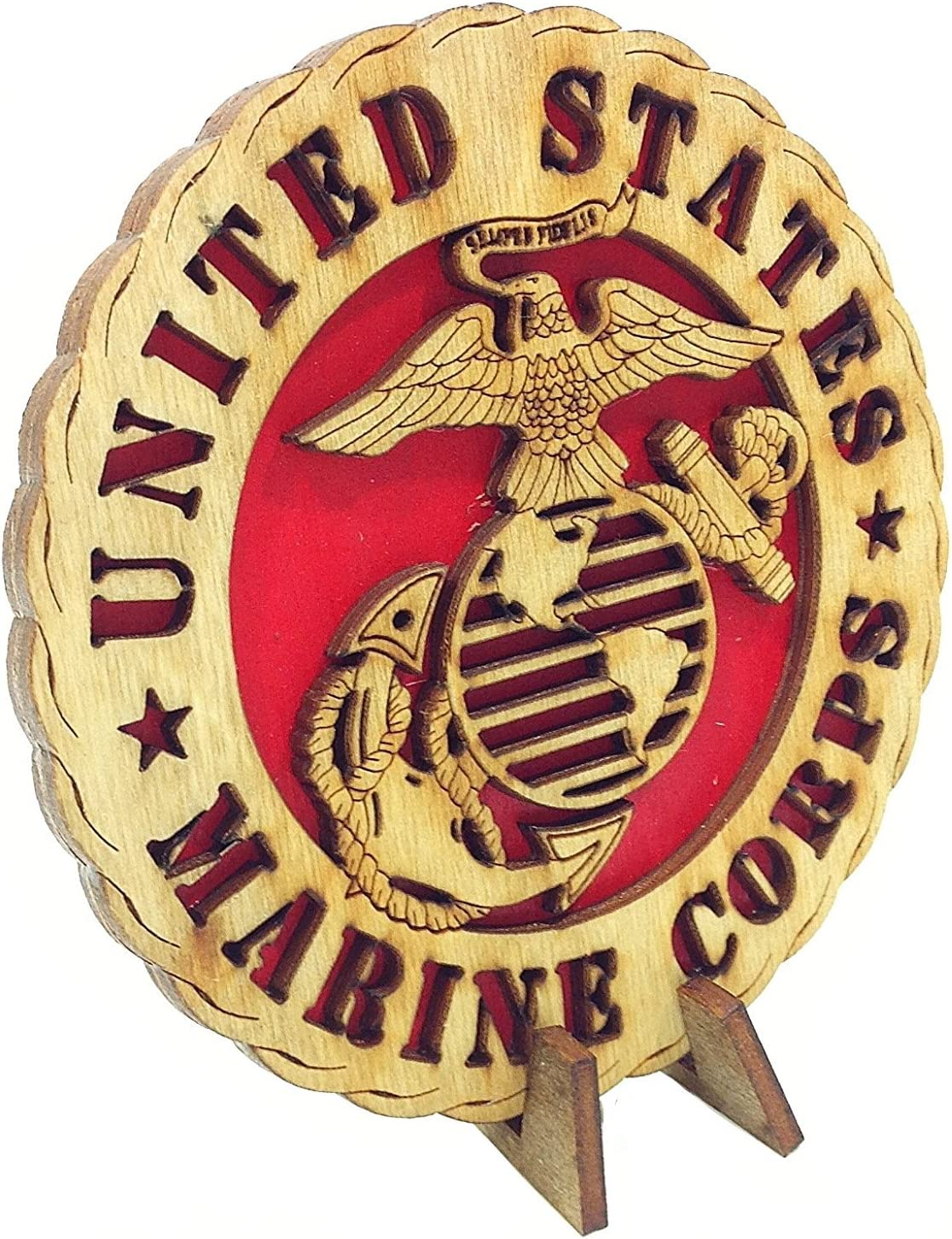 Armed Forces Marines Military Decorative Laser Three Dimensional Wooden Desk Plaque 4