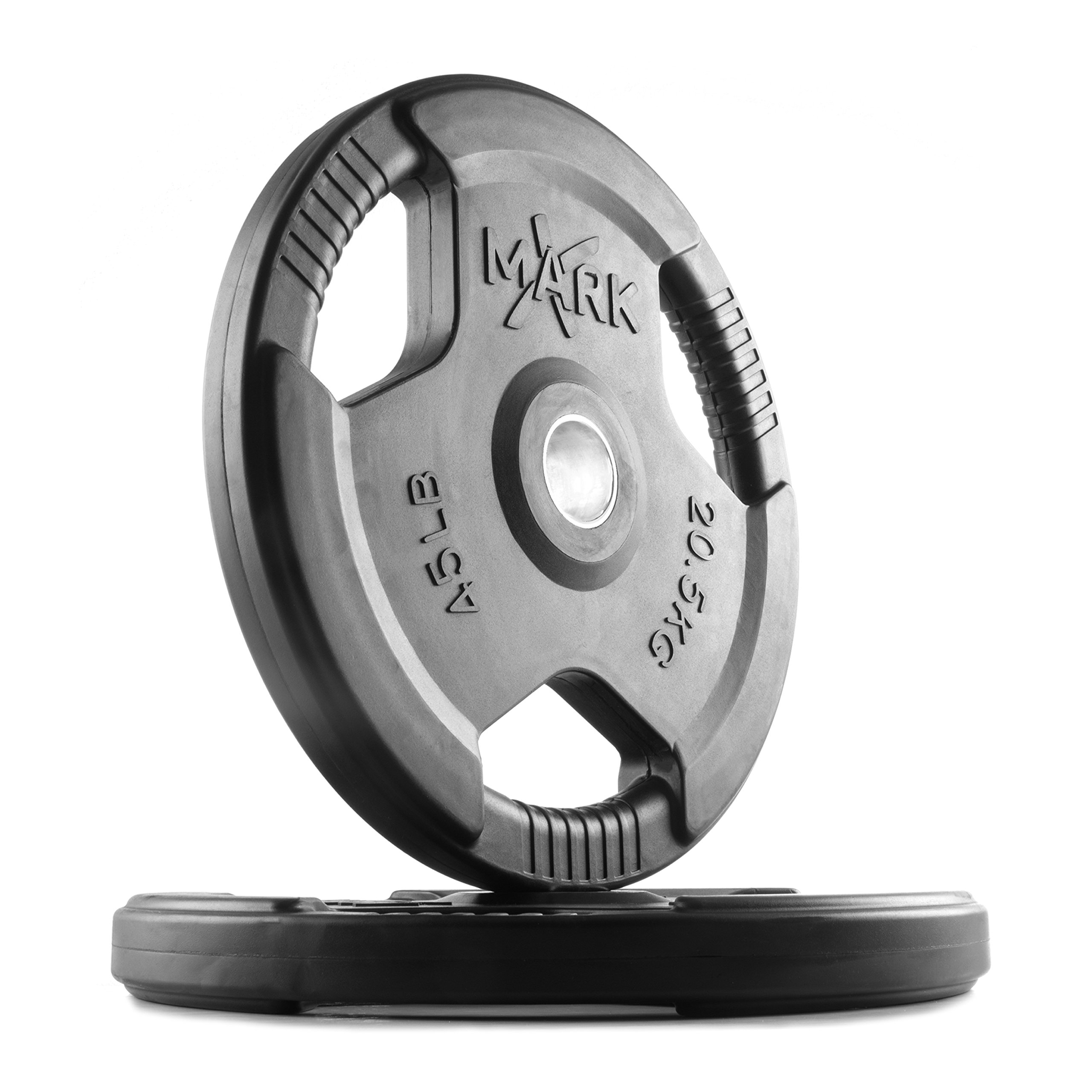XMark TRI-Grip 45 lb Pair Olympic Weights, Premium Rubber Coated Olympic Plates, One-Year Warranty