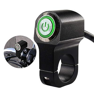 12v 10A Motorcycle Bike ATV 7/8inch Handlebar CNC Switch for Headlight Hazard Brake Fog Light ON Off Switches (Green): Automotive
